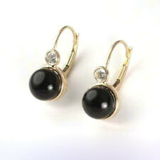 14k Yellow Gold  Black Onyx Leverback Earrings with CZ