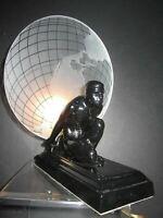 Frankart Sarsaparila art deco Atlas w/the glass earth shade black lamp USA made