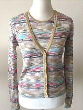M MISSONI Viscose TWIN SET CARDIGAN & SHELL Multi-Color Stripe w/Metallic Trim 6