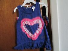 GUESS GIRLS 2 PC SET TOP IS BLUE W/HEART STRETCH SHORTS ARE PINK SIZE 3T