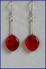 Red Czech Glass Handmade Retro Style Unusual Sterling Silver 925 Earrings Bright