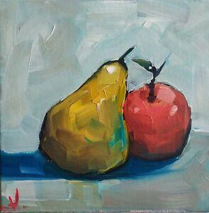 STILL LIFE PEAR  OIL PAINTING BY ARTIST VIVEK MANDALIA  IMPRESSIONIST ARTWORK