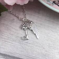 Silver Key and Angel Wing Necklace, Feather Charm Necklace, Meaningful Gift