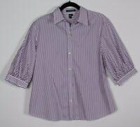 Lauren Ralph Lauren Striped 3/4 Sleeve 100% Cotton Blouse Button Front Size XL