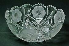 Vintage Cut Glass Fruit Bowl With Etched Flowers