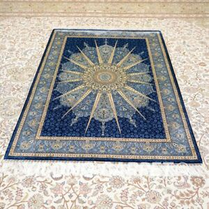 Yilong 4'x6' Blue liberty Design Hand knotted Silk Carpet Indoor Area Rug Y160A