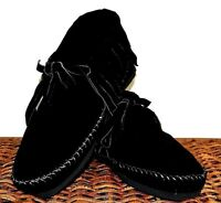 Black Suede Soft Moccasin low boot Womens fringe Western Indian Pawnee all sizes