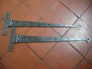 Antique large blacksmith made wrought iron folded strap or T hinges
