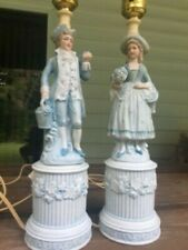 Vintage Colonial Boy and Girl Table Lamps