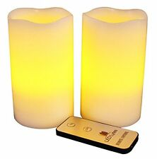LED Lytes Real Wax Battery Operatedless Pillar Candles w Remote Set of 2 Flame