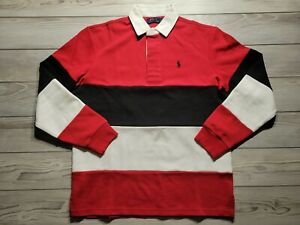 Polo Ralph Lauren Men's Double Knit Rugby Long Sleeves Polo Shirt Size M Red