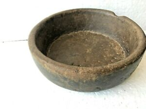 Antique Rare Old Primitive Handmade Stone Bowl Extra Rich Patina