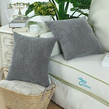 "2Pcs CaliTime Pillow Cushion Cover Corduroy Corn Striped 20"" X 20""  Grey"