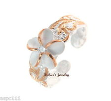 STERLING SILVER 925 PINK ROSE GOLD HAWAIIAN PLUMERIA FLOWER SCROLL TOE RING