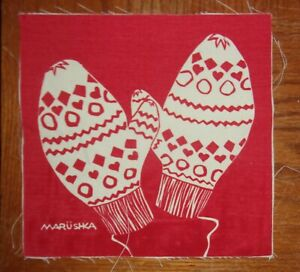 """Small 8"""" x 8"""" MARUSHKA Print ~ Unframed ~ Red and White Mittens"""