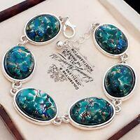Stunning Vintage CZECH Blue Green Glass Fire Opal Silvertone Bracelet