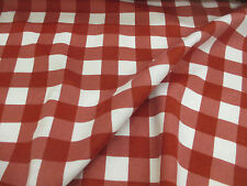 White & Red Checked 100% Brushed Cotton Flannel Fabric. Price Per Metre!