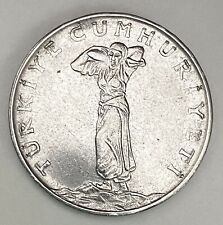 1977 Turkey 25 Kurus Stainless Steel Double Date Error Circulated Coin   (2138)