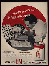 1956 Man & Woman Smoke L&M Cigarettes & Play Scrabble Vintage Ad