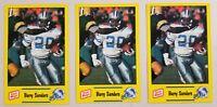Barry Sanders 3 Card Lot 1990 Oscar Mayer Police 2nd Year Football Card