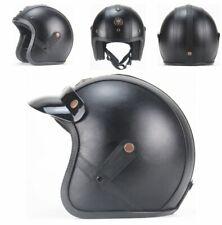 Motorcycle Chopper Bike Leather Helmet Vintage Open Face Moto Unisex Street Ride