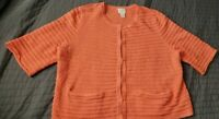 Chico's Women Knit Sweater Open Front Orange Cardigan Short Sleeve Size 1