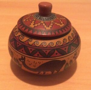 Handpainted pottery jewellery box