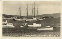 Stonington ME Harbor Boats Real Photo Postcard