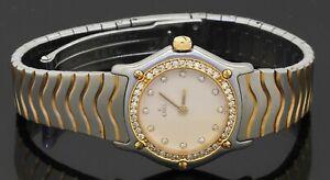 Ebel Wave SS/18K Gold 1.0CTW VS1/F diamond quartz ladies watch w/cream dial