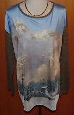 ULLA POPKEN Shirt, Berge-Fotomotiv,  Langarm,Wollmix Gr.42/44