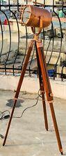 Adjustable Antique Vintage Nautical Tripod Floor Copper Lamp Studio Searchlight