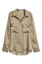 H&M Bluse Satin Satinbluse Büro Gr. 48 50  XL khaki grün Seidenlook NEU