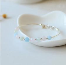 Adjustable Natural Morganite Ladies Wedding 925 Silver Bracelet Female 2019/20