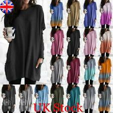 Womens Long Sleeve Sweater Ladies Pocket Baggy Jumper Pullover Tops Blouse Size