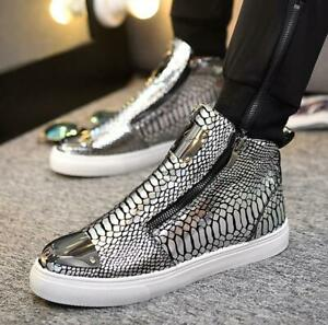 Men's Fashion Lace Up Skateboard Ankle Boots High Top Sneakers Casual Shoes New