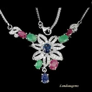 11 ct BLUE SAPPHIRE,EMERALD,RUBY,SILVER NECKLACE ( was $269.95 )