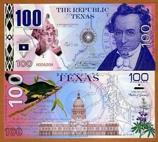 USA States, Republic of Texas, 100 Dollars, Polymer, 2016