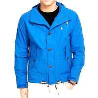 Polo Ralph Lauren Mens Blue Waxed Tree Line Anorak Windbreaker Pony Logo Jacket