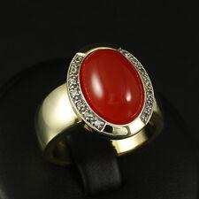 Eleganter Karneol Saphir Ring mit ca. 7,80 ct.   10,2g 375/- Gelbgold