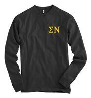 Sigma Nu Bella + Canvas Black Long Sleeve T Shirt Sig Nu Letters NEW