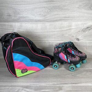 Rio Roller Leopard Black Pink Purple Quad Skate Roller Boots Size UK 2 & Rio Bag