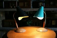 Pair of mid century lamps, turquiose and black