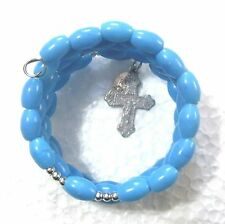Rosary bracelet, blue plastic beads w silvery crucifix etc on memory wire wkb