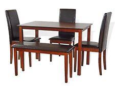 Dining Kitchen 5 PC SET Rectangular Table 3 Fallabella Chairs Bench Dark Walnut