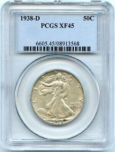 Silver 1938-D Walking Liberty 50c Half Dollars | PCGS XF45