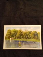 View of Lake and Swan in City Park Greenville Ohio - Vintage Postcard Unused