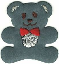 Gray Teddy Bear w/ red bow tie Embroidery Patch