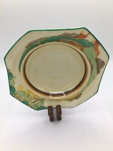 Clarice Cliff Early Hand Painted Original Secrets Octagonal Fruit Bowl C1933