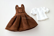 Neo Blythe, Licca Doll Outfits Clothes Brown Jumper Skirt & White T-Shirt