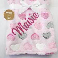 Personalised Heart Blanket, Baby Girl Gift, Custom Embroidered, SUPER SOFT